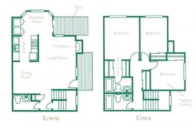 Floor Plan 3 Bed 2 Bath  B