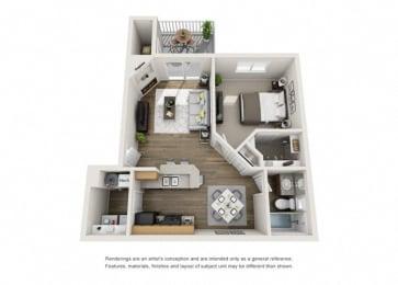 Floor Plan One Bedroom, One Bathroom Modern