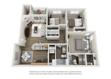 Floor Plan Three Bedroom, Two Bathroom Modern
