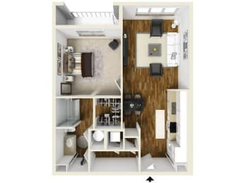 The Acorn Floor Plan at The Lincoln, Raleigh, NC, 27601