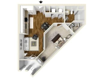 The Burke Floor Plan at The Lincoln, North Carolina, 27601