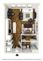 The Hub Studio Floor Plan at The Lincoln, Raleigh, NC