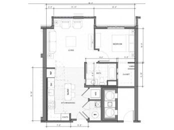 1BR G Floor Plan  Merc