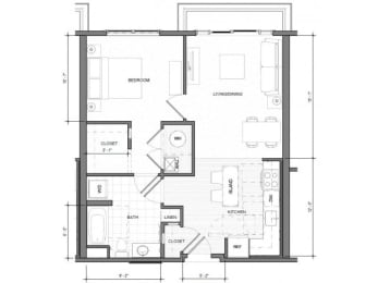 1BR Standard Balcony Floor Plan  Merc