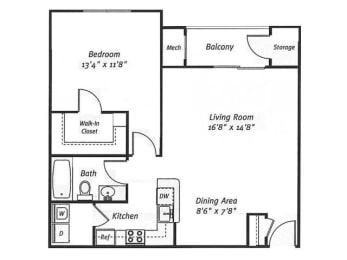 1Bed1Bath_747 Floor Plan |Residences at Westborough