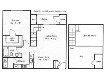 1Bed1Bath_927 Floor Plan |Residences at Westborough