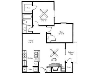 1x1B Floor Plan |Village Oaks