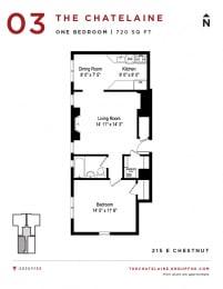 The Chatelaine - One Bedroom Floorplan