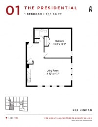 Presidential Apartments - One Bedroom