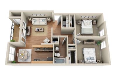 Floor Plan 2 Bedroom  1 Bathroom