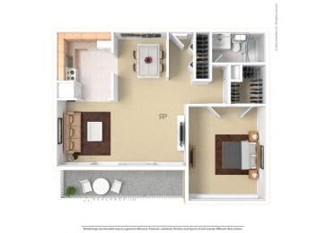 Floor plan at The Aspen, Alexandria, VA,22305