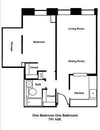 Floor Plan Mass Mills II 1BR/1BA