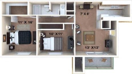 2bedroom, 1 Bathroom Floor Plan