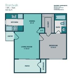 Floor Plan 1 Bedroom A1 - 540sqft - BOARDWALK