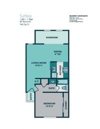 Floor Plan 1 Bedroom A3 - 700sqft -