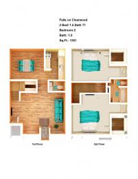 Floor Plan 2 Bed/ 1.5 Bath T1