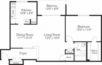 One Bedroom Floorplan at Townley