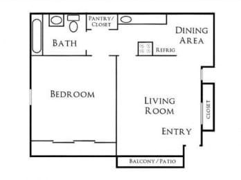 1BR/1BA Floorplan at Scripps Poway Villas