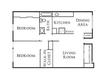2BR/1BA Floorplan at Scripps Poway Villas