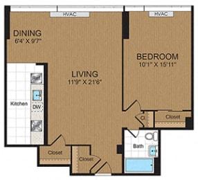 Floor Plan  One Bedroom 1B Floorplan at Connecticut Park Apartments