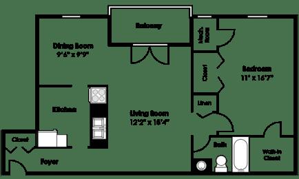 Floor Plan  Floorplan at Courthouse Square Apartments, 1112 Ivywood Lane, 21286