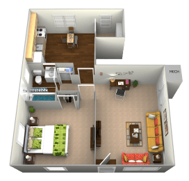 Floor Plan  3D Floorplan for 1 bed 1 bath 652sf, at Cross Country Manor Apartments, 3301 Clarks Lane, Baltimore