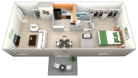 Floor Plan  Doncaster Village 1 Bedroom 1 Bath Option 1 Floor Plan 645sf