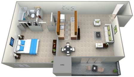 3D floorplan for 1 bed 1 bath 700sf, at 101 North Ripley Apartments, 101 North Ripley Street, Alexandria