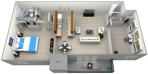 3D Floorplan for 1 bed 1 bath 800sf, at 101 North Ripley Apartments, Alexandria, VA