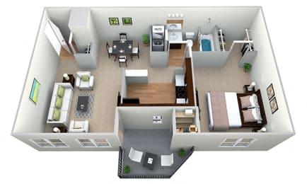 Floor Plan  1 Bedroom 1 Bath 3D Floor Plan at Westwinds Apartments, Annapolis