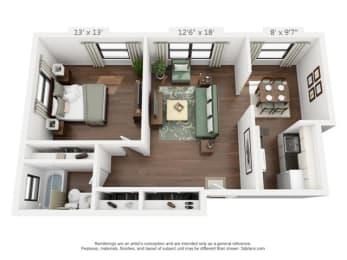 Floor Plan One Bedroom A