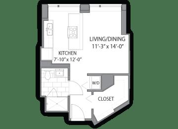 Floor Plan  Apartment floor plan at Hubbard Place, Chicago