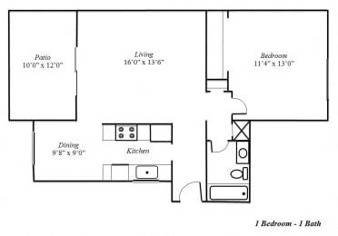 One Bedroom Floorplan at Sedona Apartment Homes