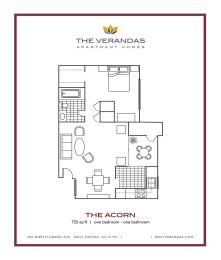 1 Bed 1 Bath Floor plan at The Verandas Apartment Homes, West Covina, California