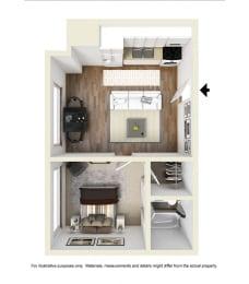 one bedroom floor plan l Academy Lane Apartments in Davis CA