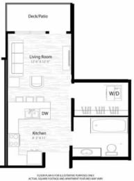 Floor Plan  Studio Floorplan at Windsor at Broadway Station