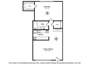 Floor Plan  Burgandy layout at Allen House Apartments, Texas, 77019