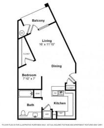 Floor Plan  Studio Floorplan at Windsor Lofts at Universal City