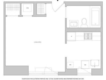 Floor Plan  Studio 2 Floorplan at The Aldyn
