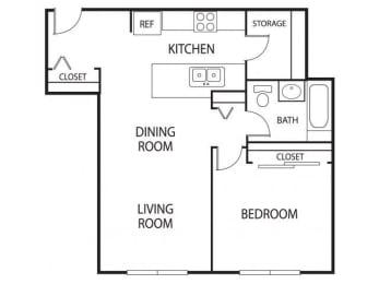 Floor Plan  Hidden Valley Apartments in Savage, MN 1 Bedroom 1 Bathroom Apartment