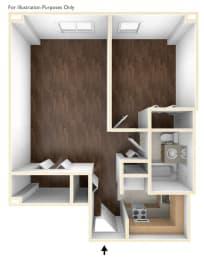 One Bedroom Floor Plan Laurelwood Place Apartments
