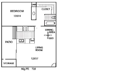 Floor Plan  La Serena Rowland Heights, CA 1x1 Floor Plan 725 SF