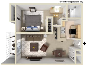 Geneva Floor Plan - One Bed One Bath, at The Madison Park Apartment Homes, 2235 W Broadway