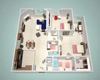 2 Bed - 2 Bath B Floor Plan at The Social, North Hollywood
