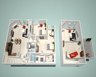 2 Bed - 2 Bath B1 - Penthouse Floor Plan at The Social, California