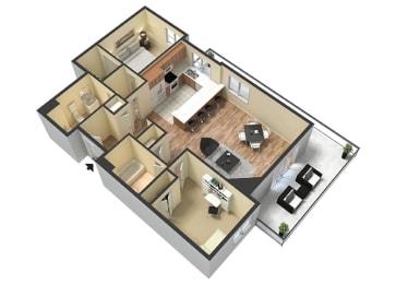2 Bed - 2 Bath Corsica Floor Plan at Le Blanc Apartment Homes, Canoga Park, 91304