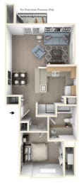 One Bedroom End Floor Plan at Tracy Creek Apartments, Ohio