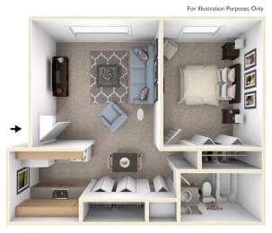 One Bedroom Floor Plan at Waverly Park Apartments, Lansing, Michigan