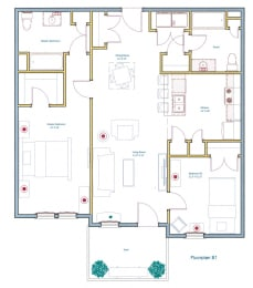 2 Bedroom Floorplan Layout at Ashland Woods
