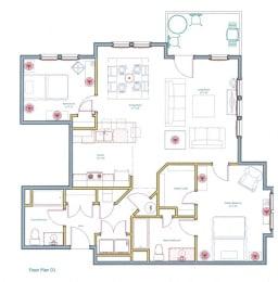 Large 2 Bedroom Apartment Layout Ashland Woods